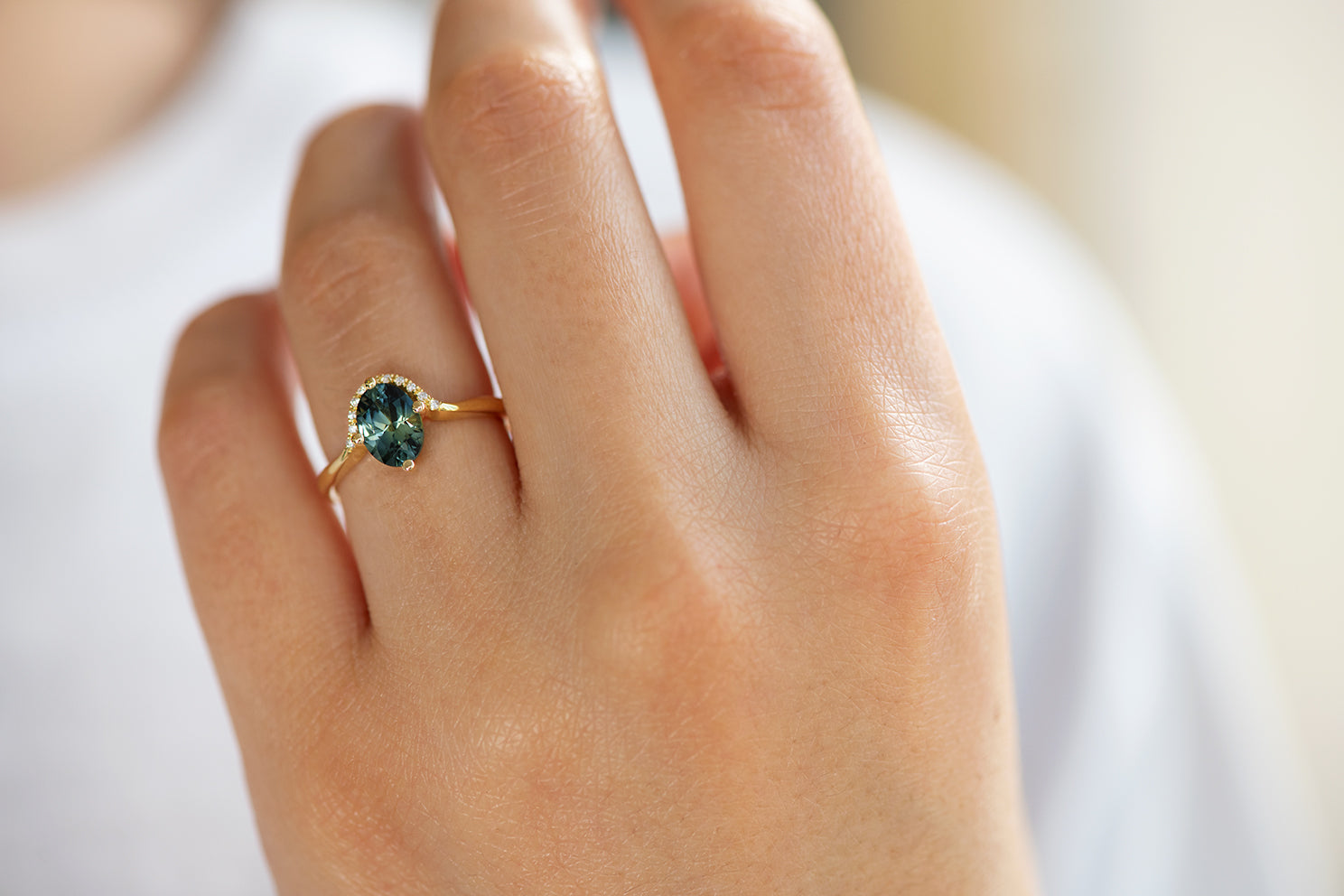 Teal Sapphire Engagement Ring - OOAK on Hand Up Close Front Shot