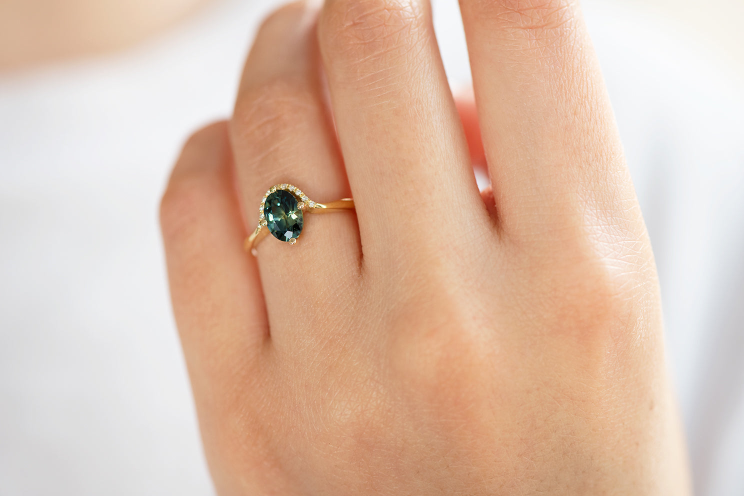 Teal Sapphire Engagement Ring - OOAK on Hand on White on Hand