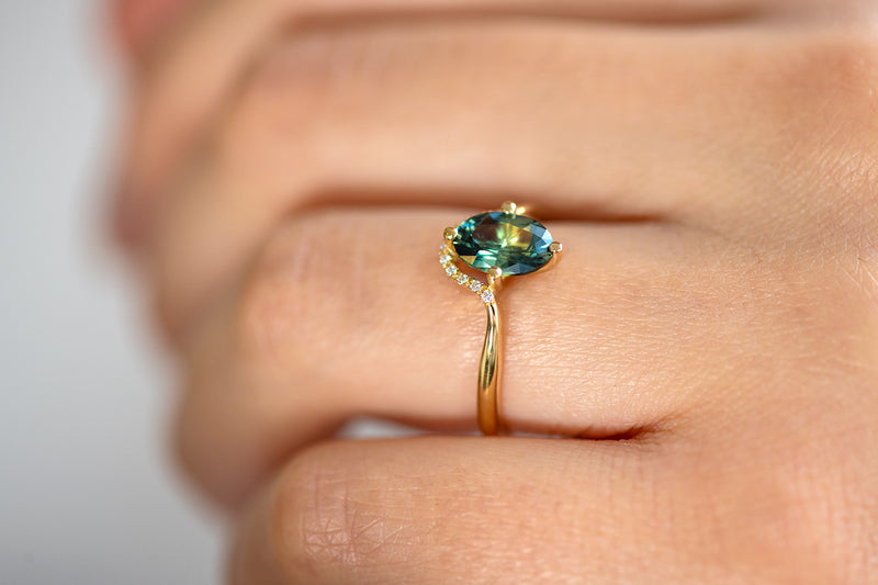 Teal Sapphire Engagement Ring - OOAK on Hand Side View Up Close
