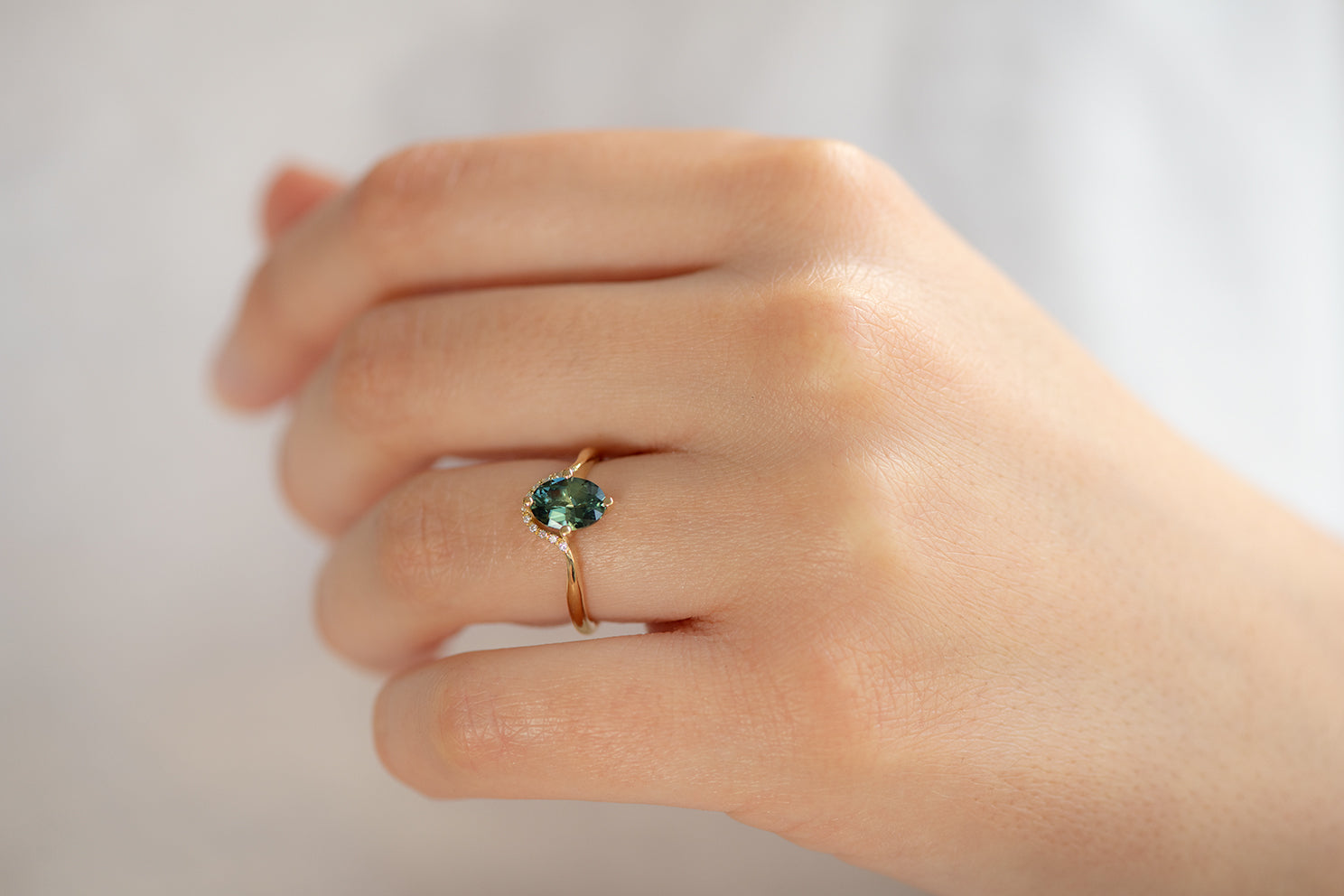 Teal Sapphire Engagement Ring - OOAK on Hand Other Angle From Side