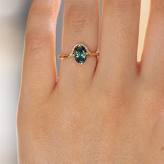 Teal Sapphire Engagement Ring - OOAK on Hand Up Close