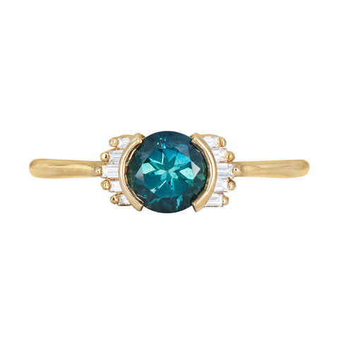 Teal Sapphire Ring with Baguette Diamond Wings