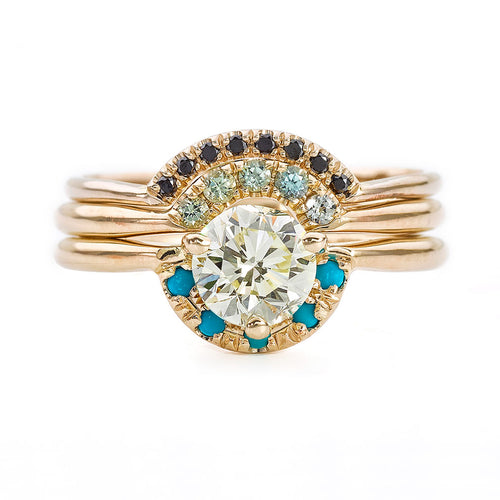Three Ring Wedding Set with Diamonds and Turquoise
