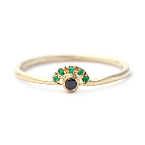 Tiny Black Diamond Engagement Ring Crowned With Pave Emeralds