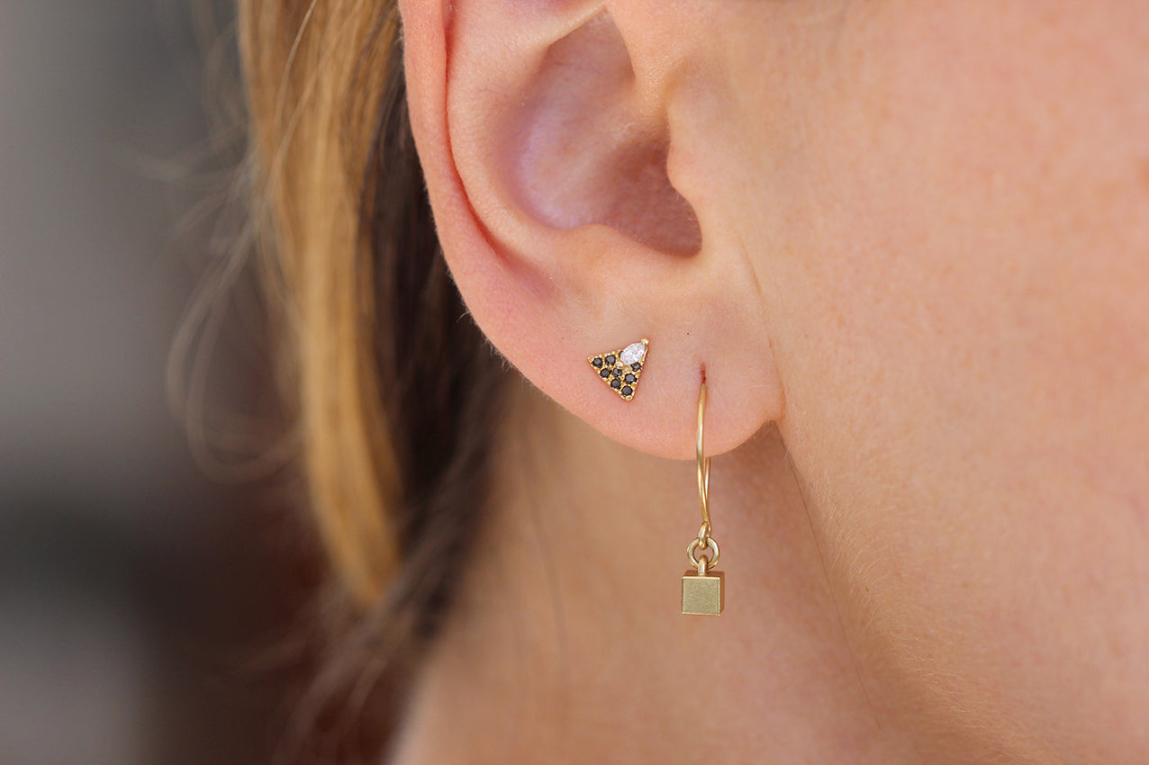 Tiny Cube Gold Earrings And Studs
