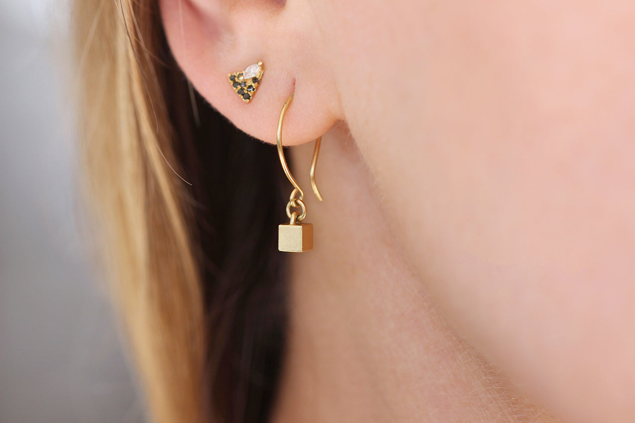 Tiny Cube Gold Earrings Close Up