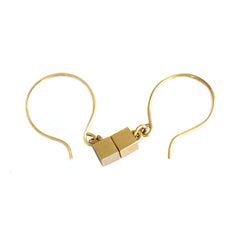 Tiny Cube Gold Earrings With Hooks
