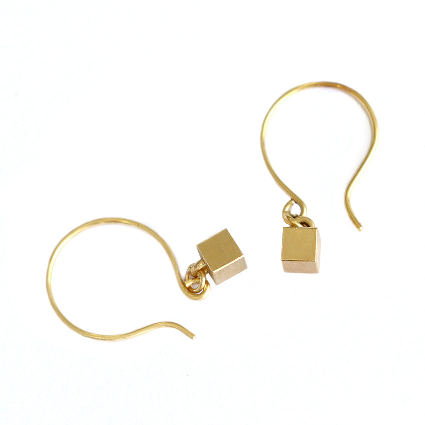 Tiny Cube Gold Earrings