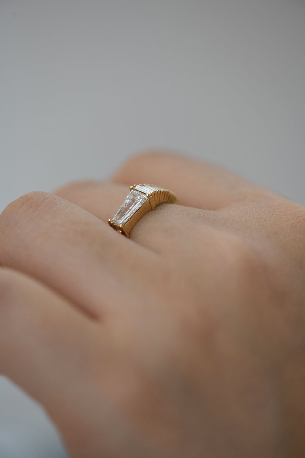 Trapeze Diamond Engagement Ring - OOAK Ring on Hand Side View