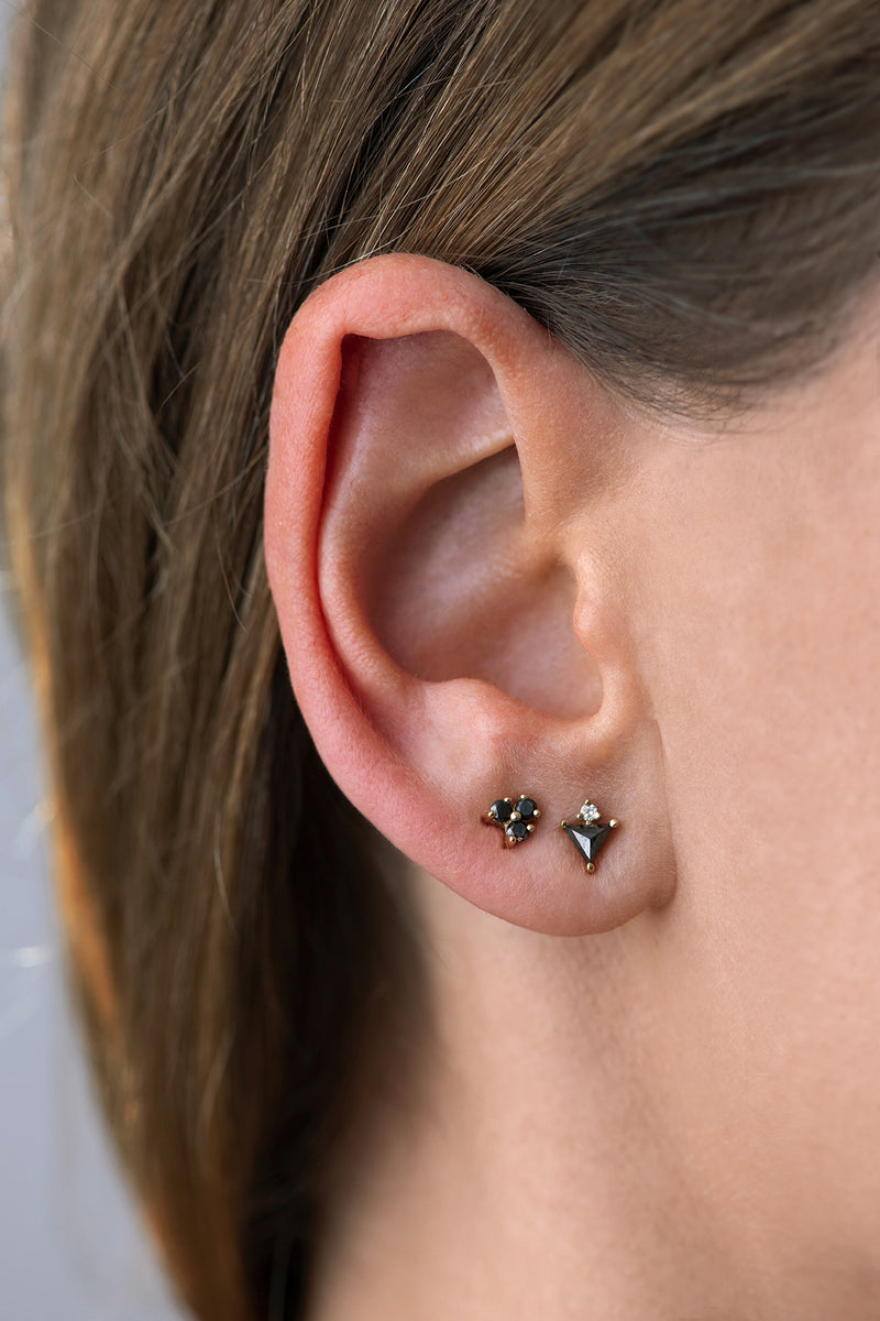 Triangle Earrings with Black and White Diamonds on ear in set