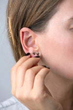 Triangle Earrings with Black and White Diamonds on ear other view