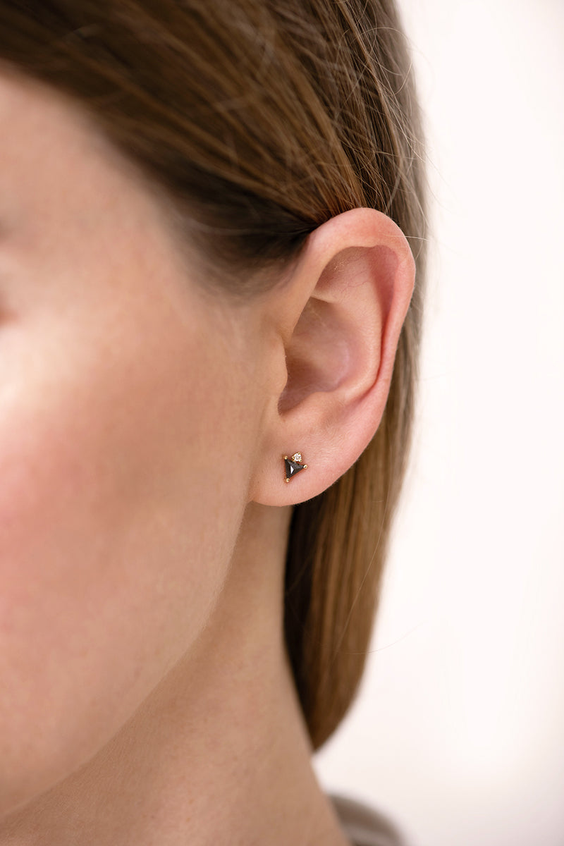 Triangle Earrings with Black and White Diamonds side angle on ear