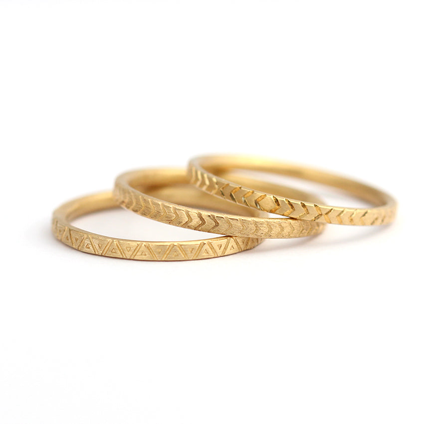 Triangle Pattern Wedding Band In 14k Solid Gold