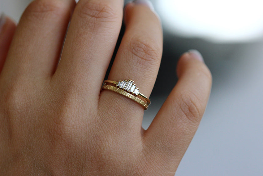 Triangle Pattern Wedding Band In A Set
