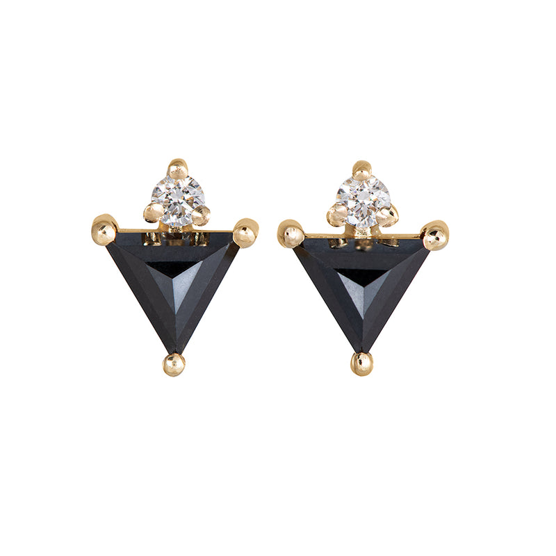 Triangle Earrings with Black and White Diamonds