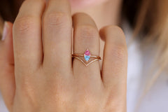 Trillion Aquamarine And Pink Spinel Ring In A Set