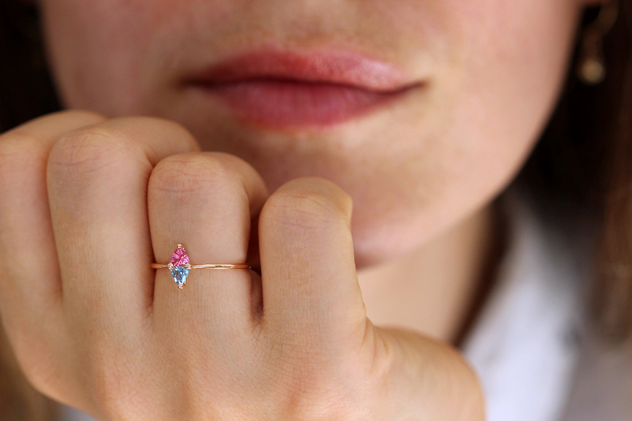 Trillion Aquamarine And Pink Spinel Ring On Hand