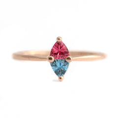 Trillion Aquamarine And Pink Spinel Ring