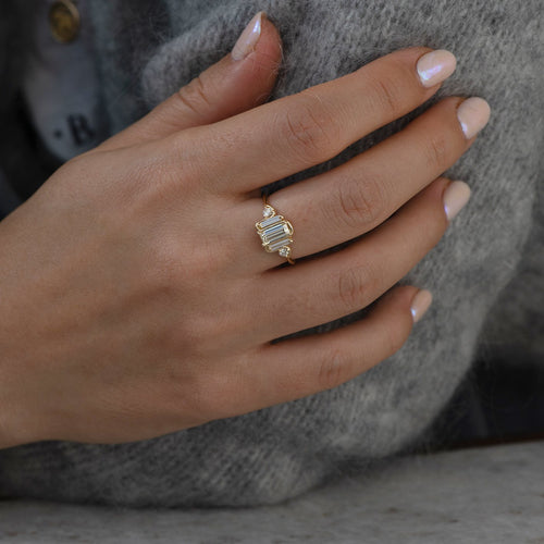 Dreifach Baguette Diamond Wave Ring1