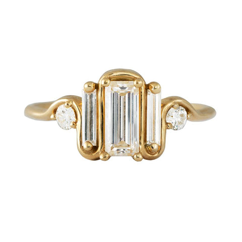 Triple Baguette Diamond Wave Ring