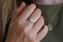 Turquoise And Diamond Art Deco Ring In A Set