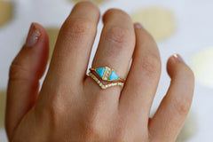 Turquoise And Diamond Art Deco Ring On Hand
