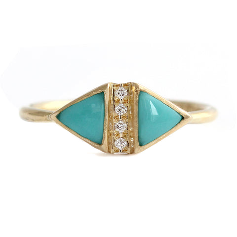 Turquoise And Diamond Art Deco Ring