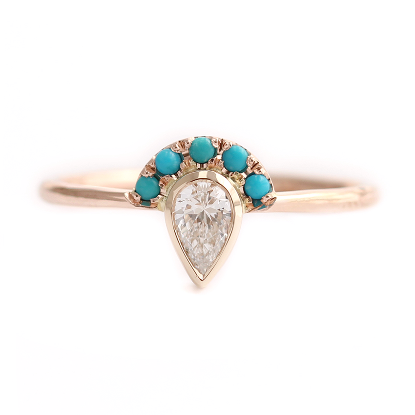 Pear Cut Diamond Ring - Turquoise Crown Diamond Ring