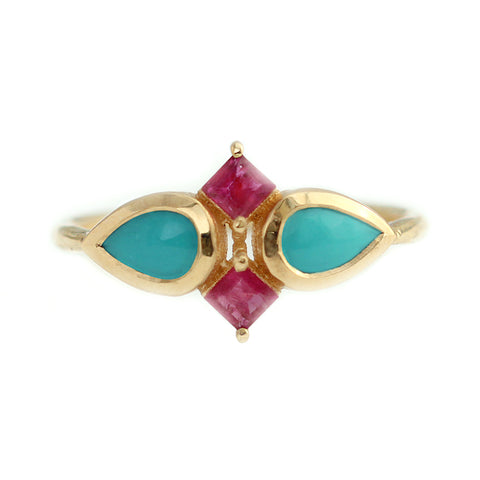 Turquoise Tear Drops And Ruby Squares Ring Frontal View
