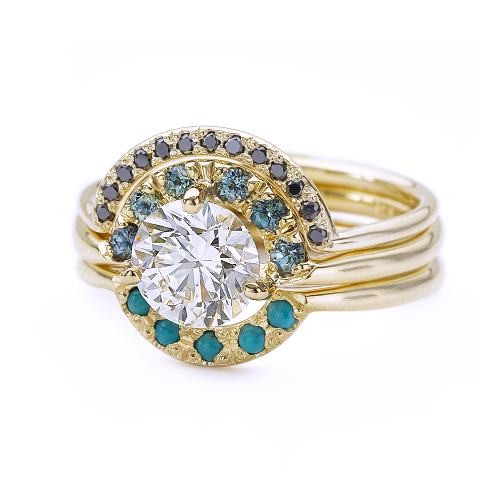 Boho Wedding Ring Set with Diamonds, Sapphires and Turquoise - One ...