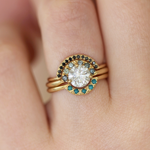 Boho Wedding Ring Set with Diamonds, Sapphires and Turquoise - One Carat Diamond Ring