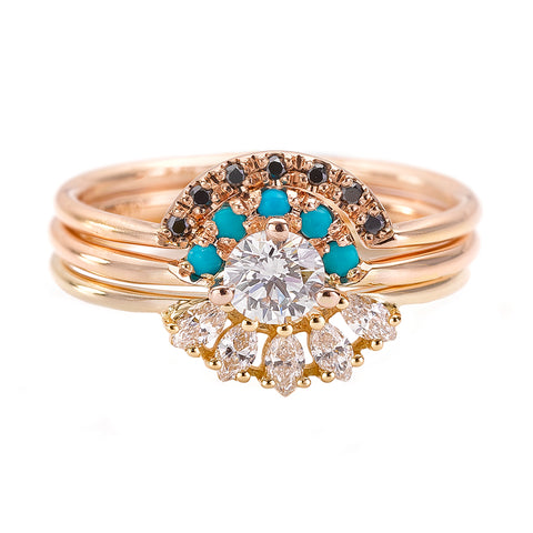hree Rings Wedding Set with Turquoise and Black & White diamonds