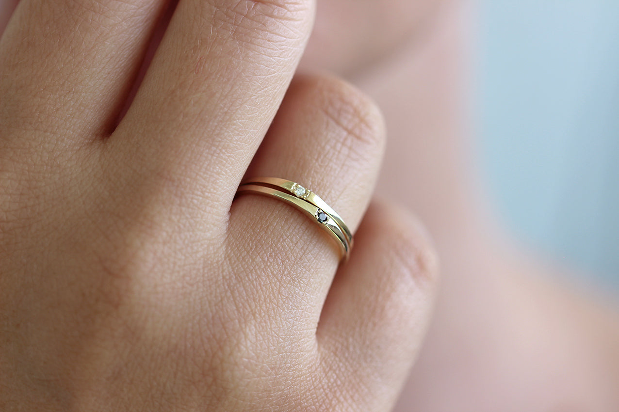 Single Small Diamond Wedding Band On Finger