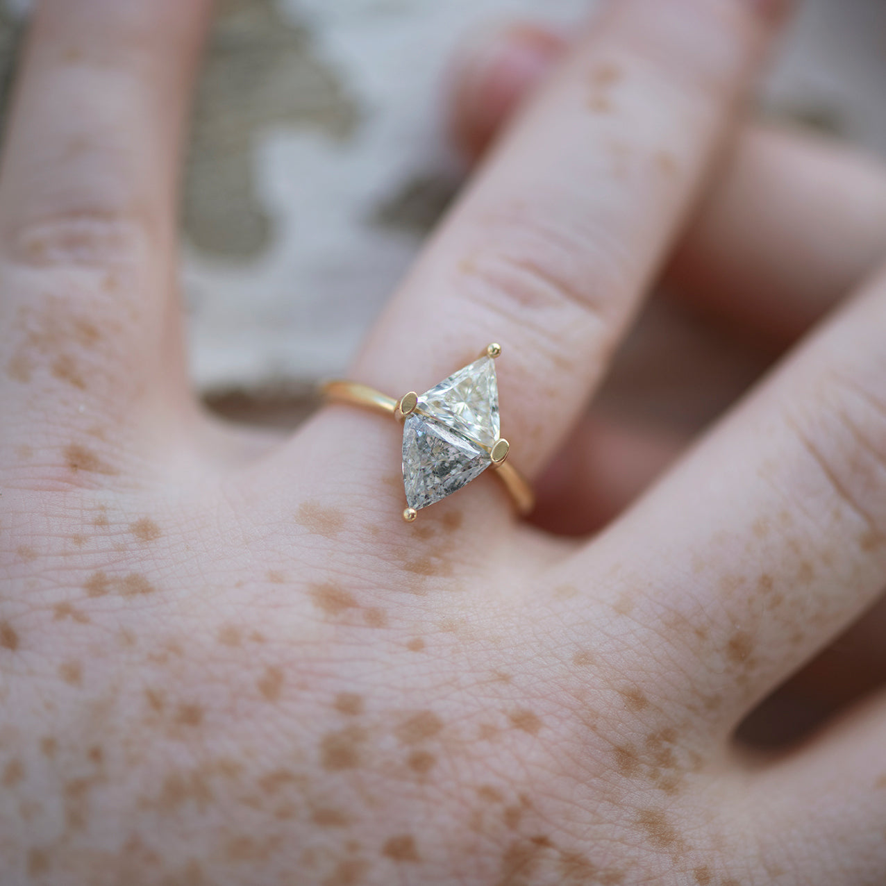 Two-Tone-Diamond-Rhombus-Engagement-Ring-White-and-Grey-Trillions-top-shot
