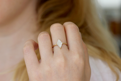 Geometrical Engagement Ring on hand
