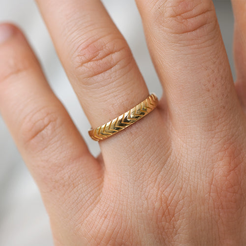 Unique Men's Wedding Band with Engraved Geometric Pattern detail shot