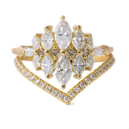 Unusual Engagement Ring Set with Marquise Diamonds Front View