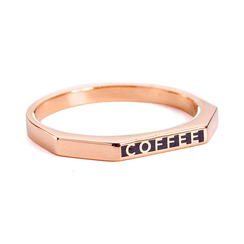 Coffee Ring - Gold Enamel Ring