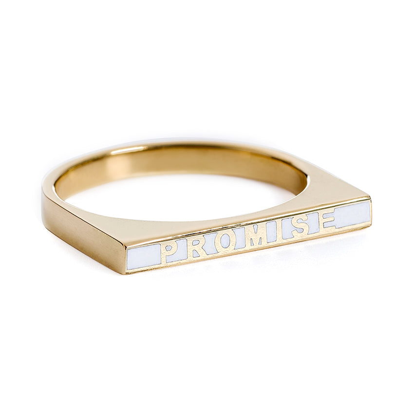 Promise Ring - White Enamel Ring