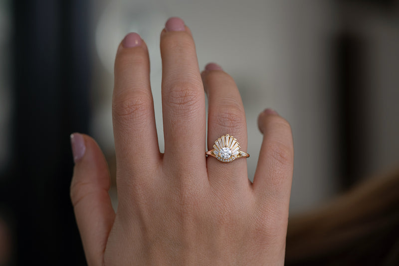 Vintage Art Deco Ring - Baguette Crown Cluster Engagement Ring in Hand