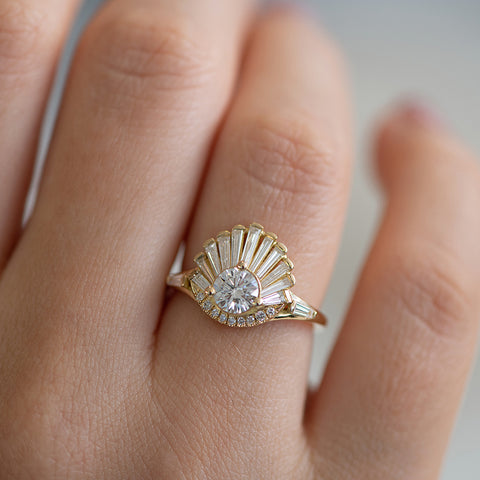 Vintage Art Deco Ring - Baguette Crown Cluster Engagement Ring Up Close