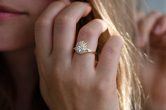 Vintage Art Deco Ring - Baguette Crown Cluster Engagement Ring Other Angle on Hand