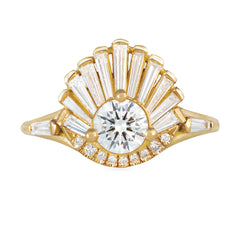 Vintage Art Deco Ring - Baguette Crown Cluster Engagement Ring Front View