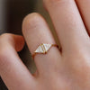 Vintage Diamond Triangle Ring On Finger