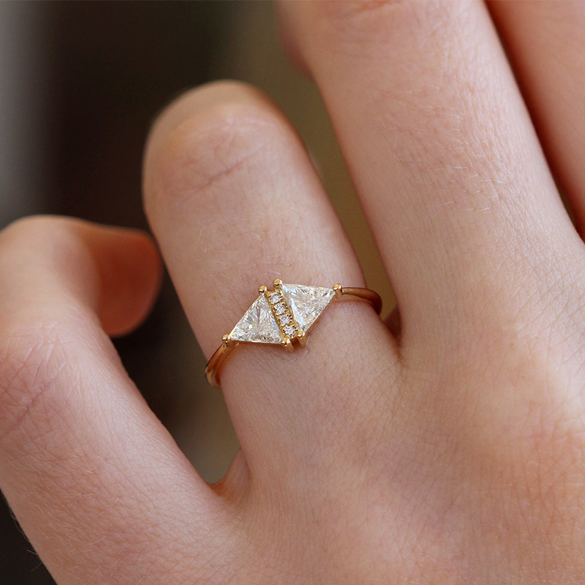 Vintage Diamond Triangle Ring Delicate Geometric Engagement Ring Artemer