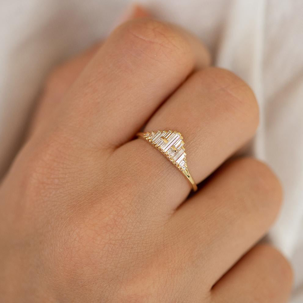 Vintage Style Engagement Ring - Art Deco Baguette Diamond Cluster Ring Up Close on Hand