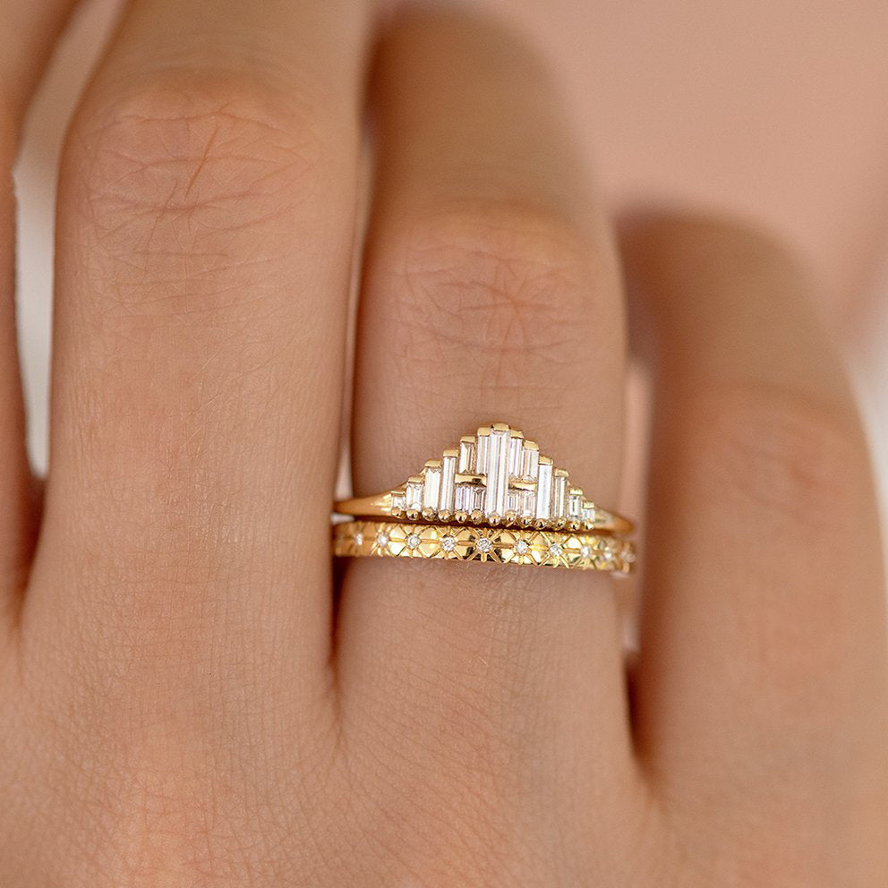 Vintage Style Engagement Ring - Art Deco Baguette Diamond Cluster Ring Detail Shot on Hand in Set