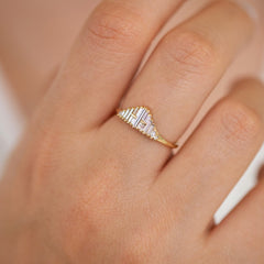 Vintage Style Engagement Ring - Art Deco Baguette Diamond Cluster Ring on Hand Side Angle