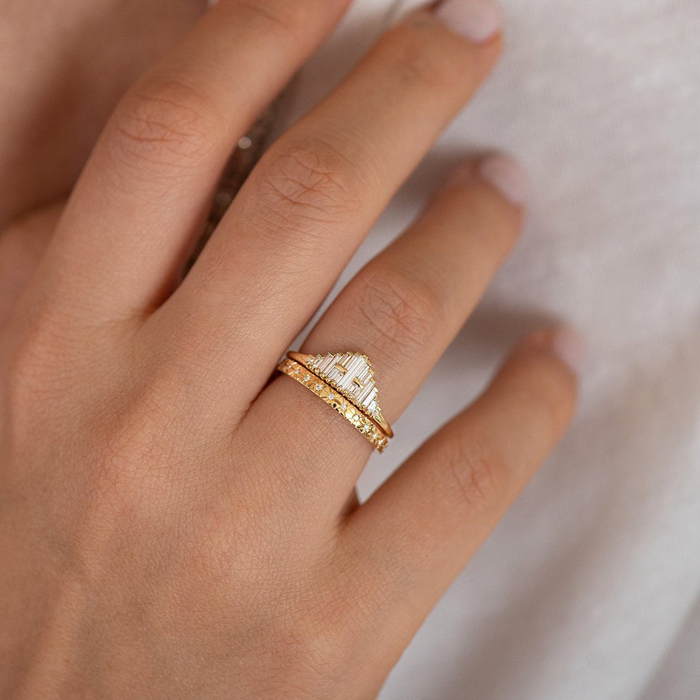 Vintage Style Engagement Ring - Art Deco Baguette Diamond Cluster Ring in Set on Hand