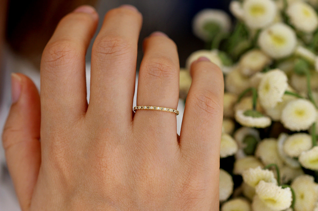 White And Champagne Diamond Eternity Wedding Band On Hand